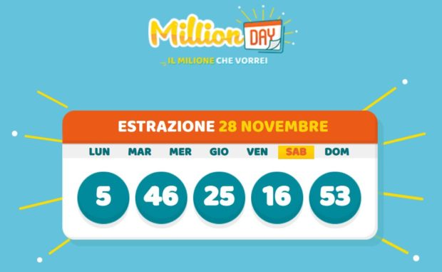 Millionday oggi estrazione cinquina milionalio lottomatica millionday oggi sabato 28 novembre 2020 verifica vincite