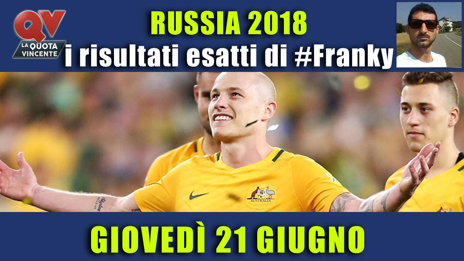 Pronostici risultati esatti Mondiali 21 giugno: le scelte di #FrankyDefa