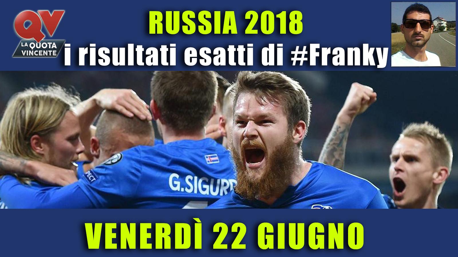 Pronostici risultati esatti Mondiali 22 giugno: le scelte di #FrankyDefa