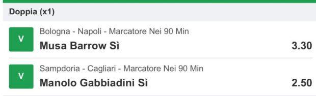 pronostici calcio oggi marcatori Musa Barrow Bologna Manolo Gabbiadini Sampdoria