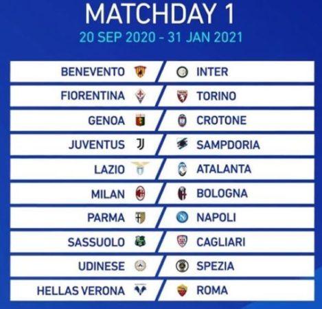 Serie A 2020-2021, la prima giornata