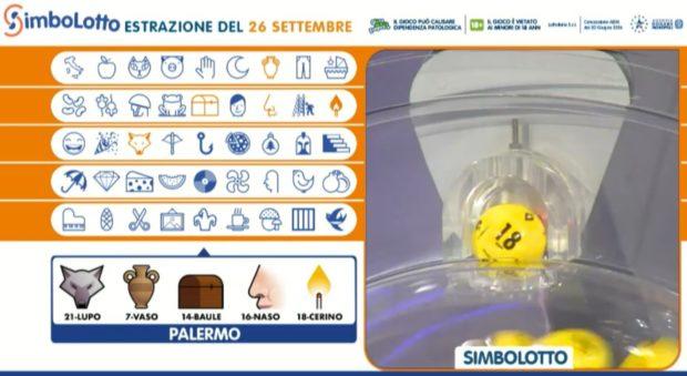 Simbolotto Lotto oggi sabato 26 settmebre 2020 Estrazione del Lotto in diretta estrazioni dei simboli del Simbolotto abbinati alla ruota di Palermo Simboli numeri vincenti