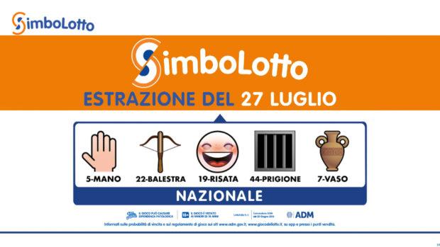 Simbolotto 27 luglio 2021 Lotto Simbolotto oggi estrazione simbolotto lotto ieri Simbolotto oggi estrazione oggi lotto oggi martedì