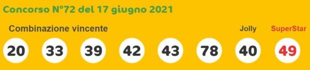 superenalotto lotto estrazioni lotto superenalotto 10 e lotto oggi numeri vincenti giovedì 17 giugno 2021