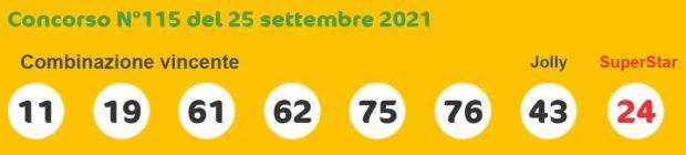 superenalotto lotto estrazioni lotto superenalotto 10 e lotto oggi numeri vincenti sabato 25 settembre 2021