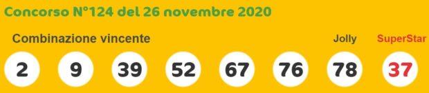 Superenalotto oggi lotto numeri vincenti oggi 26 novembre 2020 quote jackpot sisal numero jolly SuperStar verifica vincite