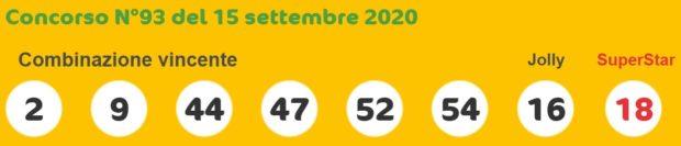 Estrazione SuperEnalotto Sisal di oggi martedì 15 settembre 2020 Estrazioni 6 e 5+1 Super Enalotto quote e jackpot numero oro doppio oro verifica vincite