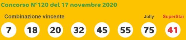 Superenalotto oggi estrazioni del superenalotto di martedì 17 novembre 2020 quote jackpot Sisal nessun 6 e 5+1 numero jolly SuperStar verifica vincite