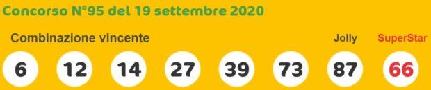 Estrazione del SuperEnalotto Sisal jackpot di oggi sabato 19 settembre 2020 Esrazioni Super Enalotto numero Jolly SuperStar 6 e 5+1 vincite immediate