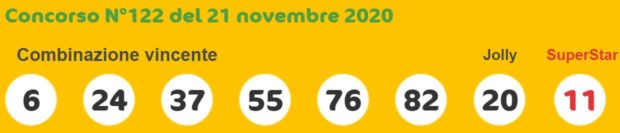 Superenalotto di oggi sabato 21 novembre 2020 super enalotto sisal quote jackpot 6 e 5+1 numero jolly Superstar