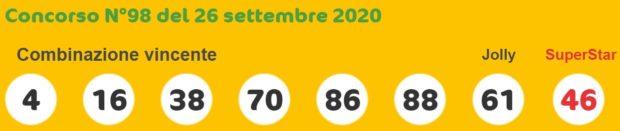 SuperEnalotto 6 5+1 Jackpot Sisal quote oggi sabato 26 settembre 2020 Estrazione Super Enalotto numero jolly SuperStar sestina vincente verifica vincite