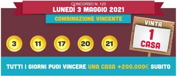 vincicasa estrazione vinci casa oggi estrazioni lotto superenalotto in diretta quote numeri vincenti di lunedì 3 maggio 2021