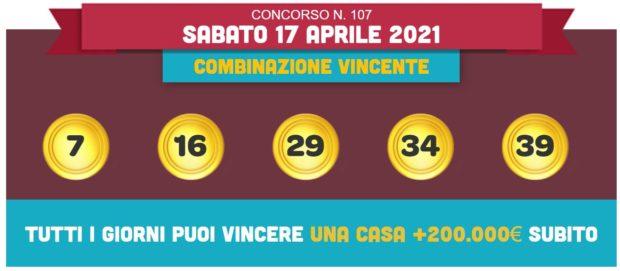 vincicasa estrazione vinci casa oggi estrazioni lotto superenalotto in diretta quote numeri vincenti di sabato 17 aprile 2021