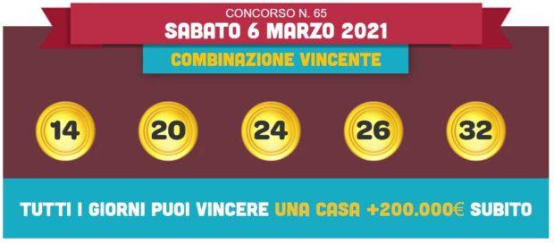 vincicasa estrazione vinci casa oggi estrazioni lotto superenalotto in diretta quote numeri vincenti di sabato 6 marzo 2021